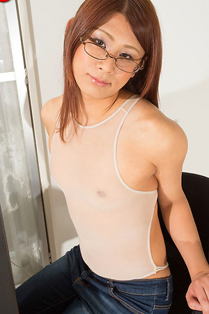 Looking very secretarial and slutty as she sits behind her laptop in glasses and blue blouse, Makoto Nanese soon turns up the heat as she strips down and lets her big meaty she-cock flop from aside her underwear before laying back in her chair and invitin