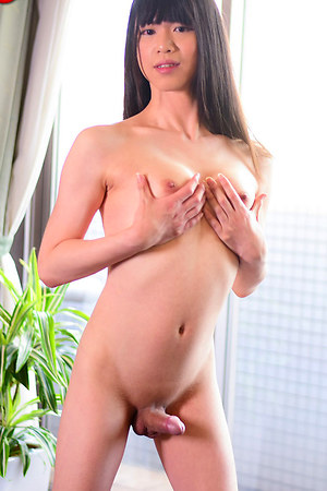 28 year old Rina Shinoda opens her luscious legs allowing her rock hard girlie tool to spring out from her pretty little panties.